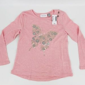 NWT Girls Pink Foil Butterfly Graphic L/S Top SM
